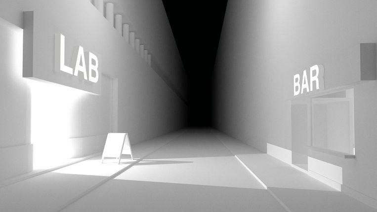 De virtuele straat met links het Lab en rechts de bar. Beeld Nineties Lab
