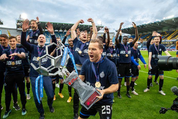 Club Brugge bij het vieren van de titel in 1A, vorig jaar. Ziet ons profvoetbal er weldra helemaal anders uit?