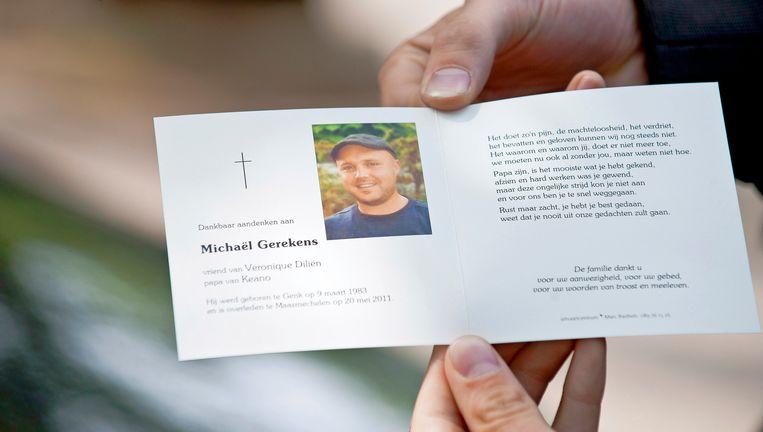 Het doodsprentje van Outlaw-sympathisant Michaël Gerekens (28). Beeld BELGA