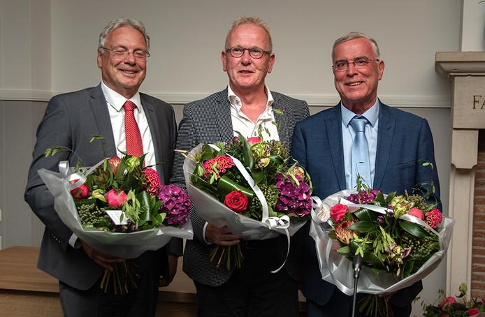 Nieuwe wethouders in Hilvarenbeek. van links naar rechts: Gerrit Overmans, Ted van de Loo en Guus van der Put.