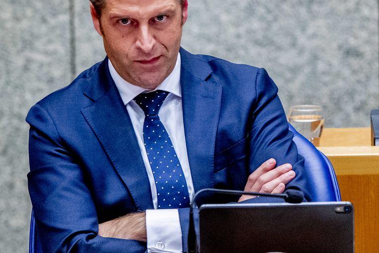 Minister Hugo de Jonge (Volksgezondheid, Welzijn en Sport) donderdagavond in de Tweede Kamer.  Beeld ANP - Robin Utrecht