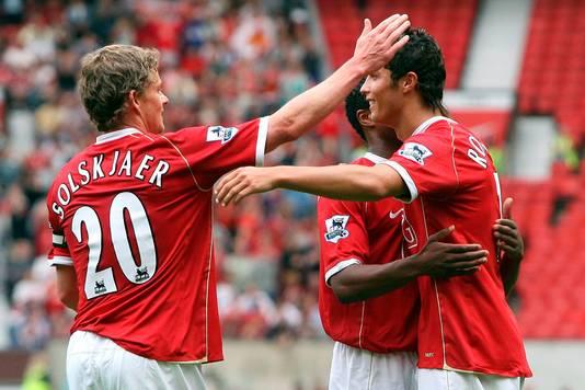 Ole Gunnar Solskjaer en Cristiano Ronaldo als teamgenoten in 2006.