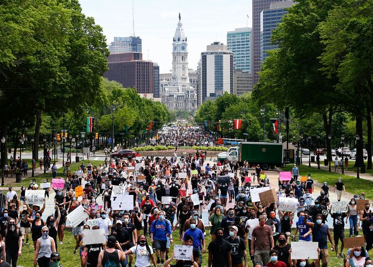 Protesten in Philadelphia. Beeld AP