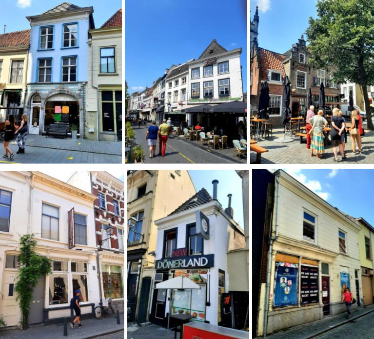 Historische panden in de binnenstad van Breda die volgens de NV Stadsherstel in een 'matige of slechte bouwkundige staat' verkeren. Met de klok mee panden in de St. Janstraat, op de Havermarkt, de Grote Markt, in de Molenstraat op de Havermarkt en in de Sint Annastraat.