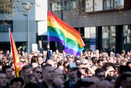 Protest tegen homogeweld in Arnhem.