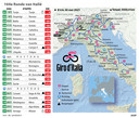 Etappeschema Giro d'Italia 2021.