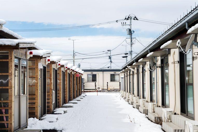 Het containerdorp van Koriyama waar voornamelijk ouderen wonen.