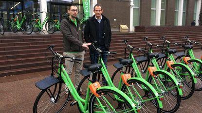 Fietsdelen met 200 groene fietsen op 20 locaties