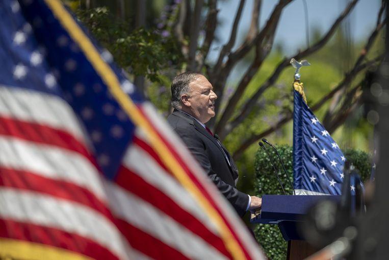 De Amerikaanse buitenlandminister Mike Pompeo bespreekt de toekomst van de vrije wereld in Yorba Linda, Californië. Beeld AFP