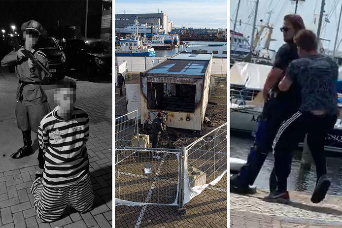 Drie incidenten op Urk: de nazi-verkleedpartij, de in de brand gestoken GGD-teststraat en een boa die de haven in wordt geduwd.