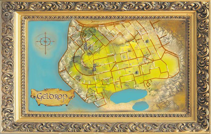 Een kaart van de wijk rondom de Laan van Tolkien in de stijl van Midden-Aarde.