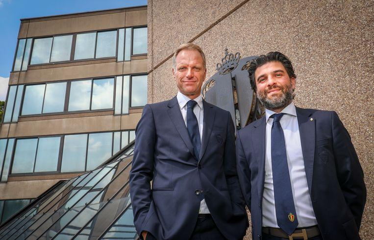 Peter Bossaert, CEO van de bond, naast kersvers voorzitter Mehdi Bayat.