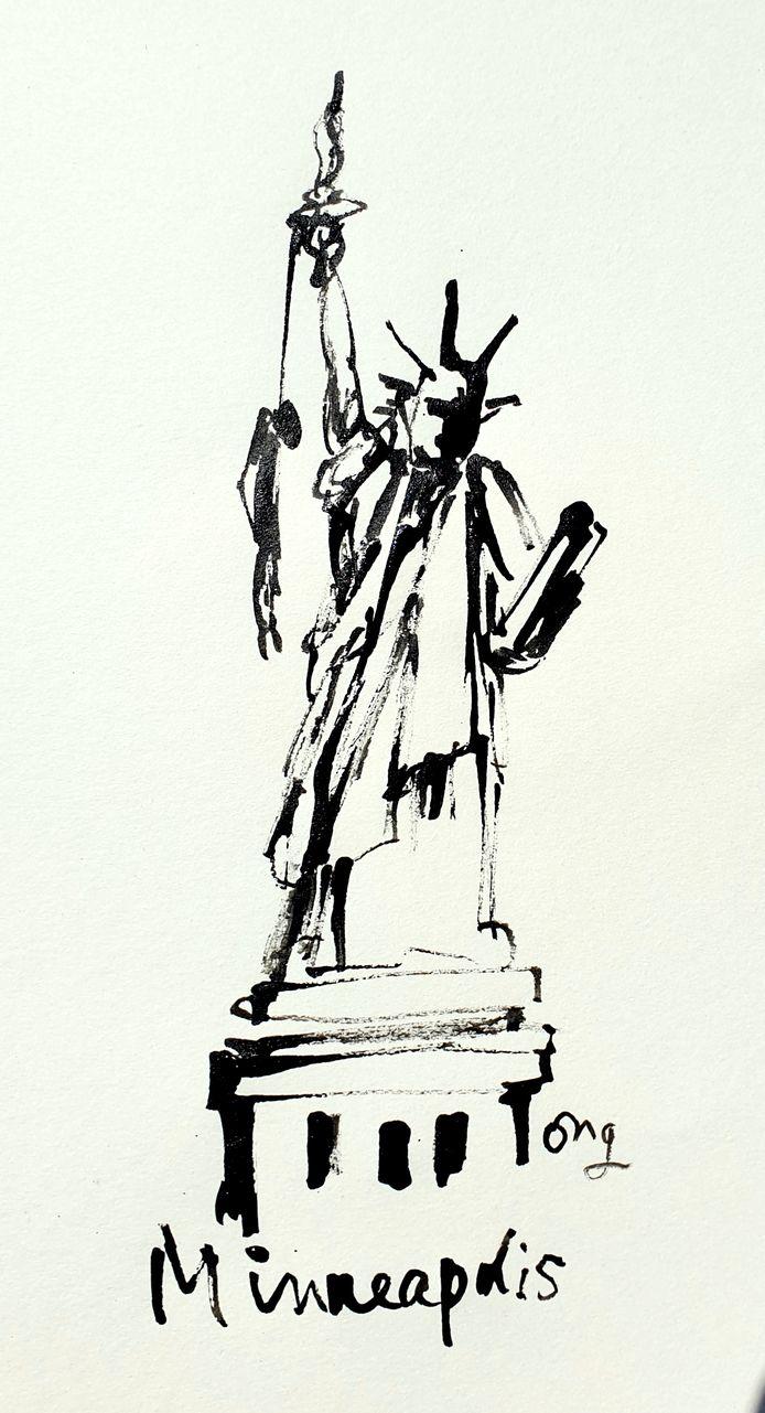 Illustratie Minneapolis van Guus Ong.