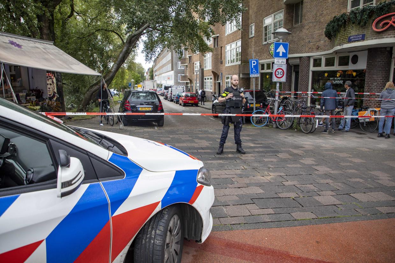 Dinsdagmiddag was in dezelfde straat ook al een schietpartij. Beeld ANP