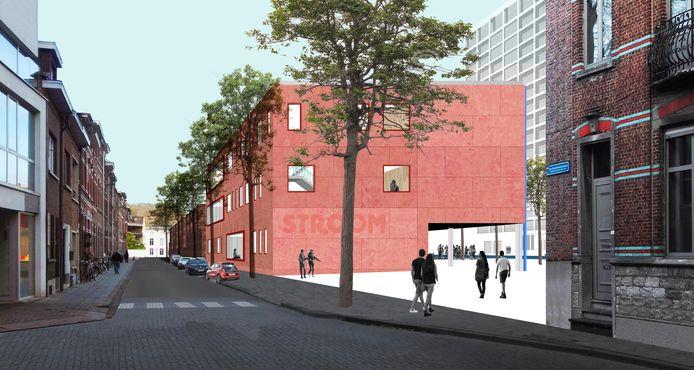 Simulatiebeeld Stroom in Leuven: het zicht vanuit de Minckelersstraat.