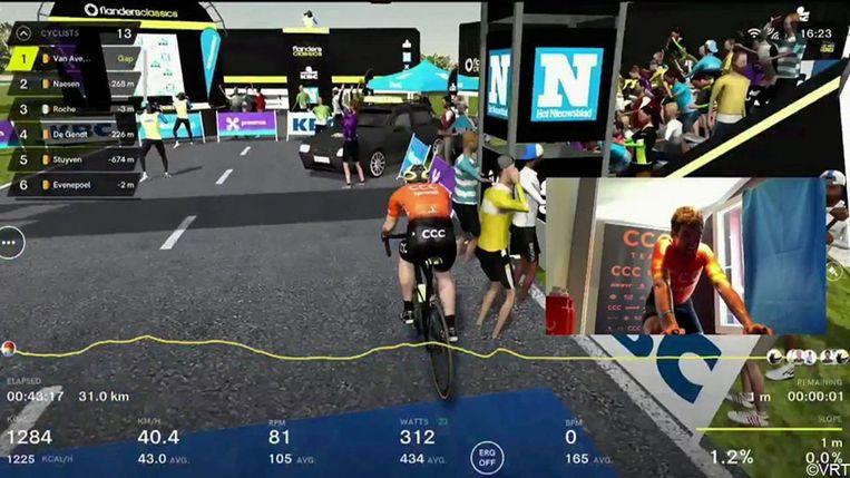 Ruim 600.000 kijkers volgden de virtuele Ronde, gewonnen door Greg Van Avermaet. Beeld rv