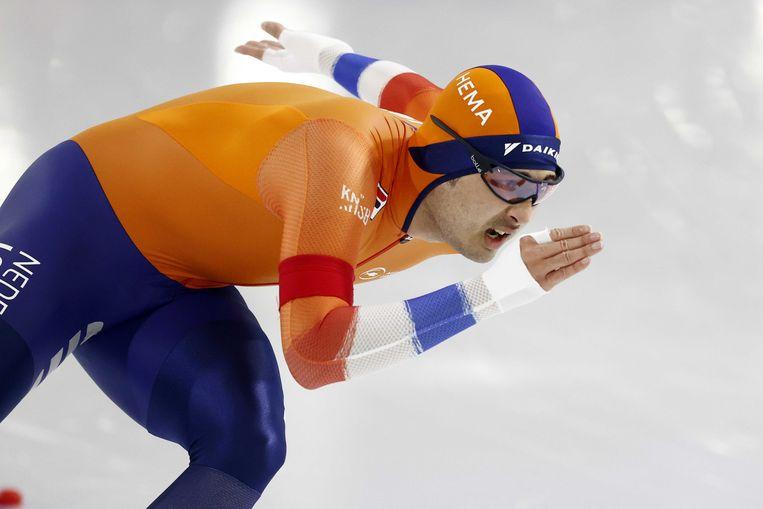 Kai Verbij op de 1.000 meter in Thialf. Beeld ANP