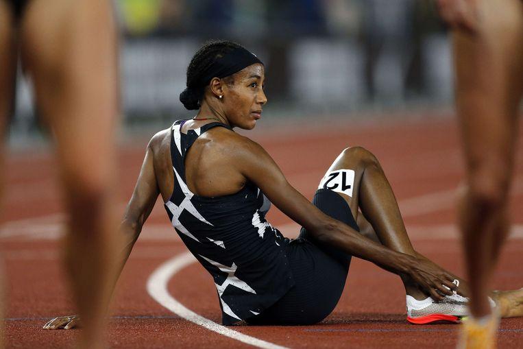 Hassan na afloop van haar race in Oregon. Beeld AFP