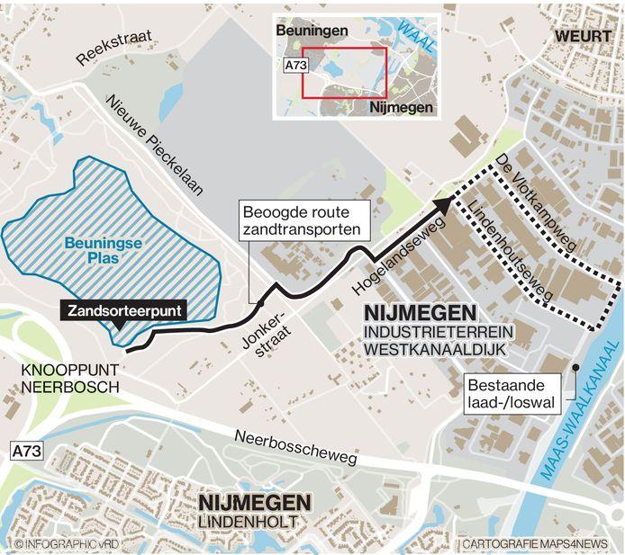 De beoogde route voor het zandtransport.
