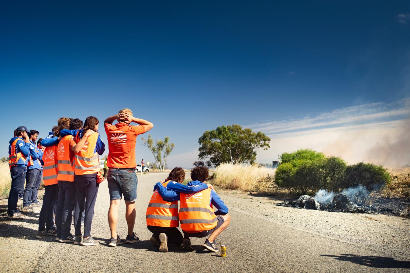 Ongeloof bij het team van de TU Delft nadat de auto vlam vatte.