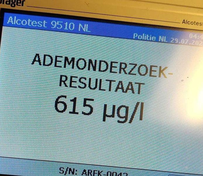 Op het hoofdbureau werd een ademanalyse afgenomen. De bestuurder blies 615 UGL.