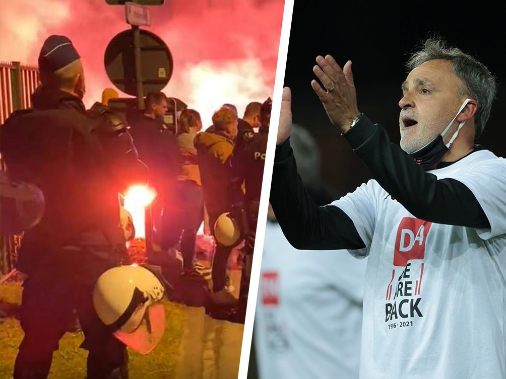 Links de opstandige Beverse fans, rechts een emotionele Emilio Ferrera bewerkstelligt met Seraing de promotie