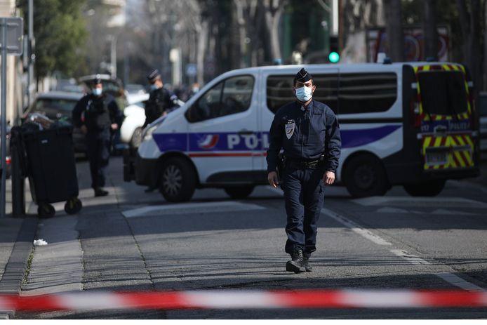 Agenten op de plaats van het incident in Marseille