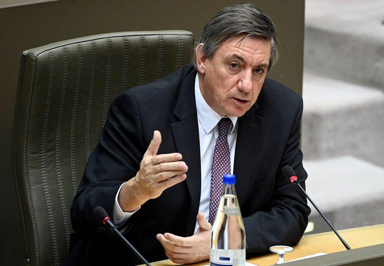 Vlaams minister-president Jan Jambon (N-VA) tijdens de plenaire vergadering in het Vlaams Parlement eerder deze week.  Beeld Photo News