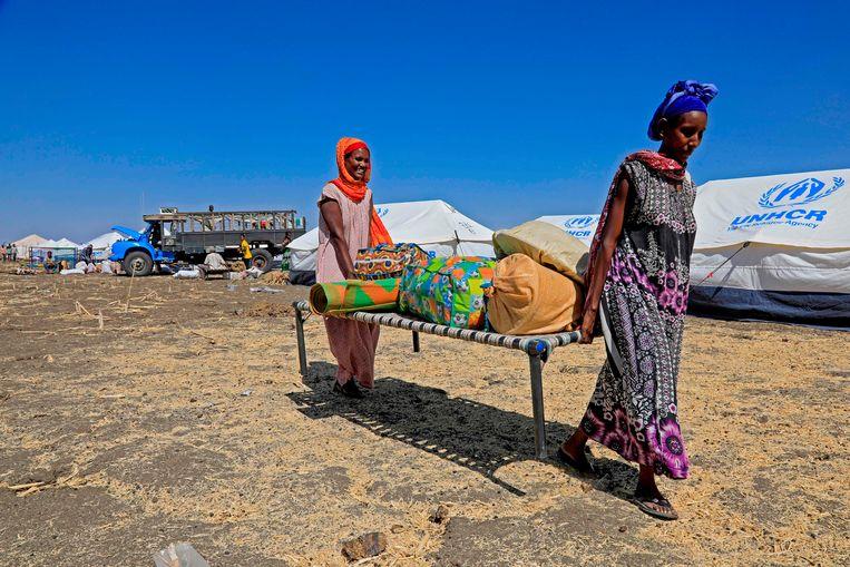 Ethiopische vluchtelingen uit Tigray in Oost-Soedan. Beeld AFP