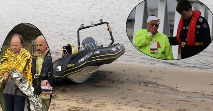 en van de twee bootjes waarmee het ongeval gebeurde. Inzet: gewonden krijgen de eerste verzorging.