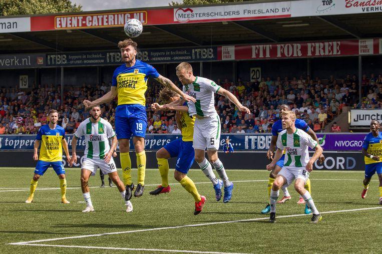 Cambuur heeft de rentree in de eredivisie geen extra glans kunnen geven en verloor met 2-1 van FC Groningen. Beeld Arie Kievit