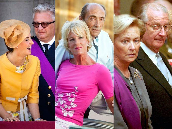 Van links naar rechts: prinses Claire en prins Laurent, prinses Marie-Christine en Jean-Paul Gourges en koningin Paola en Albert.