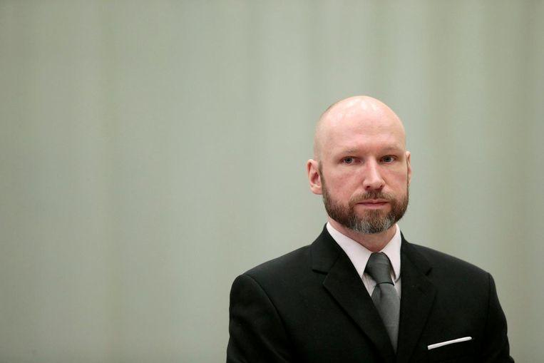 Anders Behring Breivik in de rechtbank in 2017. Beeld reuters