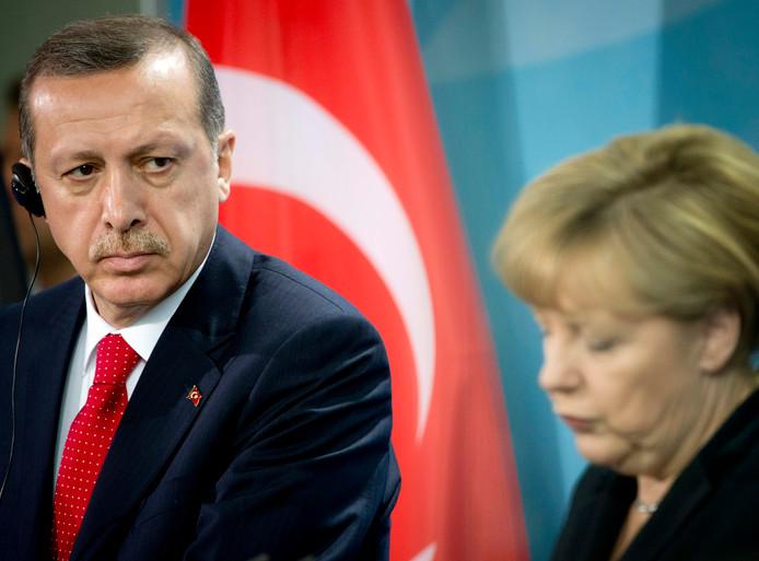 09.09.2017 - De Turkse president Recep Tayyip Erdogan en de Duitse bondskanselier Angela Merkel.