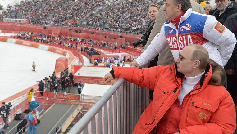 President Poetin van Rusland bij de spelen in Sotsji Beeld ap