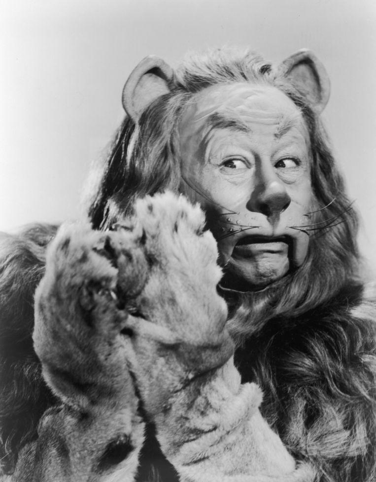 Bert Lahr als de Laffe Leeuw in Victor Fleming's The Wizard of Oz (1939).  Beeld Getty Images