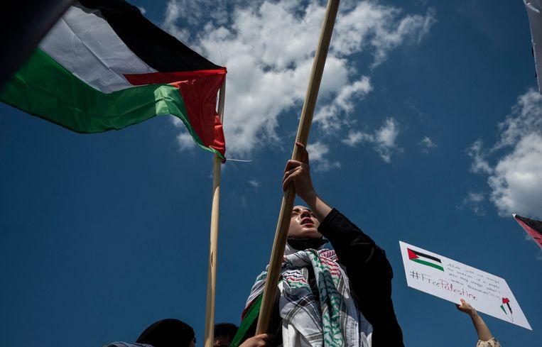 Een protestmars voor Palestina in Washington, afgelopen week. Beeld AFP