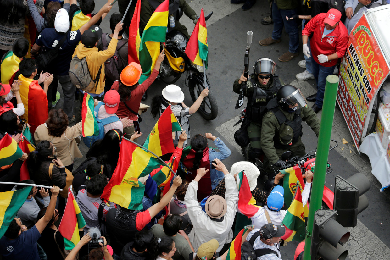 Een demonstratie in La Paz, Bolivia, vorige week. Beeld REUTERS