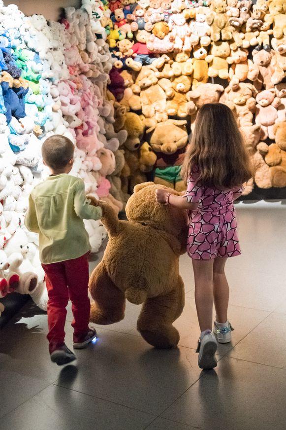 De 'knuffelhoek' aan het einde van het kinderparcours.