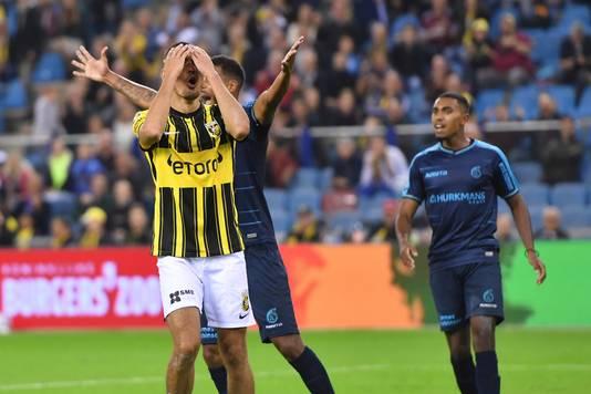 ARNHEM, GelreDome, 25-09-2021, Dutch Eredivisie, football, season 2021 / 2022, Vitesse player Oussama Darfalou after a missed chance during the match Vitesse - Fortuna