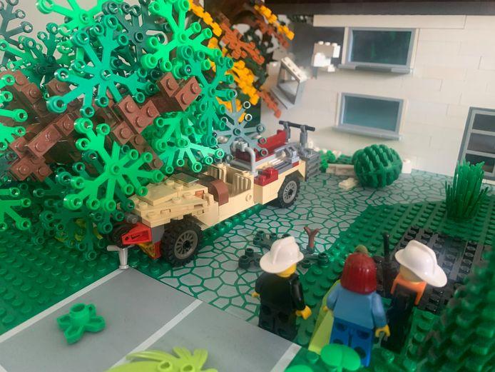 De situatie na de valwind in Leersum, nagebouwd door Evert de Graaf.