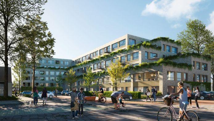Impressie van de nieuwbouw aan de Lemsterschans in Nieuwegein gemaakt door J2O architecten. Het gaat hier om een schets. Het plaatmateriaal is inmiddels vervangen door zwarte steen, meldt de ontwikkelaar.