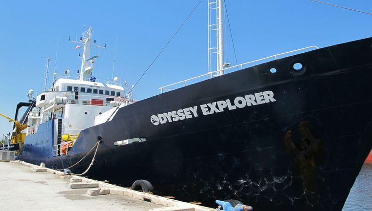 Het schip de Odyssey Explorer in de haven van North Charleston in de Amerikaanse Staat South Carolina.