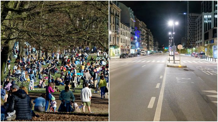 Links een vol Terkamerenbos, rechts een leeg Brussel na het ingaan van de avondklok.