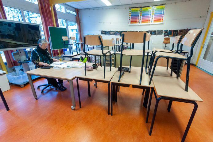 Basisschool De Kring in Schijndel - hier tijdens de lockdown - is deze woensdag gesloten.