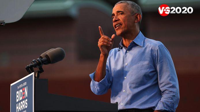 Oud-president Barack Obama tijdens de rally in Pennsylvania.