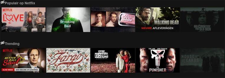 Achter het 'beperkte' menu zitten duizenden films en series verstopt.