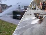 Leidingbreuk. Duizenden liters water gutsen over huis in Kampen