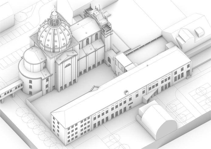 Deelproject van het religieus erfgoed met kapel, Vincentiusbouw en Mariabouw. Links onder zou de theaterruimte van Fidei et Arti moeten komen.