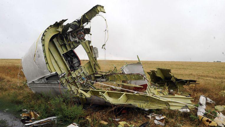 Een brokstuk van vlucht MH17. Beeld AFP